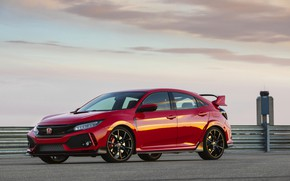 Picture clouds, red, the fence, Honda, hatchback, the five-door, 2019, Civic Type R, 5th gen, FK8