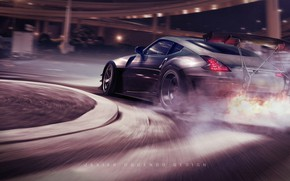 Picture Auto, Smoke, Fire, Machine, Skid, Flame, Nissan 370Z, Transport & Vehicles, Javier Oquendo, by Javier …
