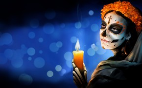 Wallpaper Flowers, Girl, Style, Background, Calavera, Mexico, Candle, Day of the Dead, Day of the Dead, ...