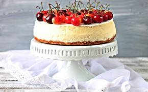 Picture cake, cream, cherry
