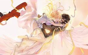Picture girl, wings, angel, dress, guy, bandages, Angel bloodshed, Satsuriku no Tenshi, Zach