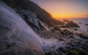 Picture sea, sunset, rocks, dawn, shore, waterfall, the evening, horizon