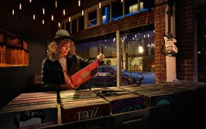 Picture girl, guitar, car, shop, records