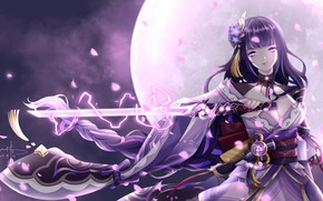 Picture girl, night, the moon, zipper, sword, fantasy, Genshin Impact, Raiden Shogun