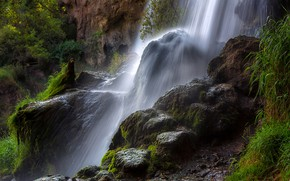 Picture greens, rock, stones, waterfall, moss, USA, Colorado, Rifle Falls State Park
