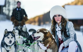 Picture dogs, girl, husky
