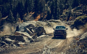 Picture mountains, transport, car, boulders, GMC SIERRA AT4