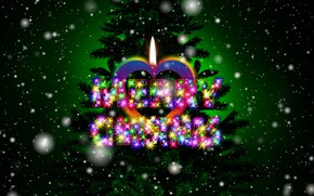 Picture snow, holiday, the inscription, heart, graphics, new year, Christmas, candle, tree, digital art