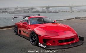 Picture Red, Auto, Bridge, River, Machine, Tuning, Red, Toyota, Auto, Bridge, Supra, Machine, Tuning, Toyota Supra, …