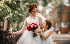 Picture flowers, woman, bouquet, girl, the bride, mom, child, wedding, daughter, mother, Vladimir Vasiliev