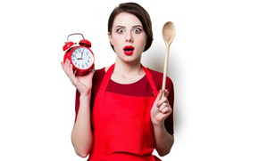Picture look, girl, pose, watch, surprise, hands, makeup, alarm clock, hairstyle, spoon, white background, brown hair, …