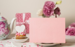 Picture holiday, gift, cupcake, cupcake, Mother's Day, Pink background