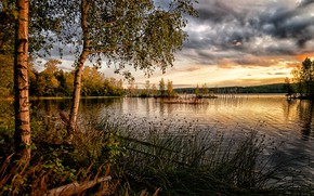 Picture the sky, grass, clouds, lake, photo