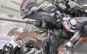 Picture guns, fantasy, robot, armor, science fiction, army, sci-fi, weapons, digital art, artwork, fantasy art, spears, …