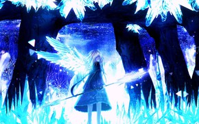 Picture ice, girl, wings, crystals, spear, cave