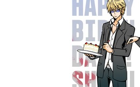 Picture letters, cake, guy, words, Durarara, Heiwajima Shizuo, Durarara, Shizuo Heiwajima