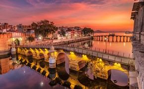 Picture the sky, sunset, lights, river, home, the evening, India, lights, glow, bridges, Udaipur