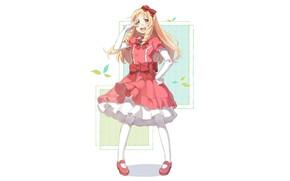 Picture shoes, white background, red dress, curls, ruffles, red bow, EroManga-Sensei, Erromango-Sensei