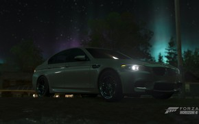 Picture BMW, Car, Sky, Stars, Wood, Tree, Game, F10, Nights, 5, M5, Xbox One X, Forza …