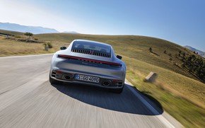 Picture road, coupe, speed, 911, Porsche, rear view, Carrera 4S, 992, 2019