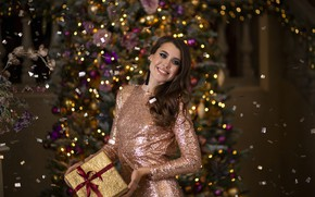 Picture smile, gift, tree, makeup, New year, beauty, New Year