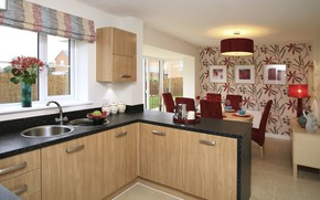 Picture interior, kitchen, dining room, open plan kitchen-dining