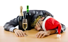 Picture red, mood, holiday, wine, glass, new year, Christmas, glasses, costume, sleeping, white background, lies, male, …