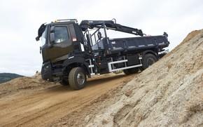 Picture road, the descent, truck, Renault, body, crane, CMU, Renault Trucks, K-series