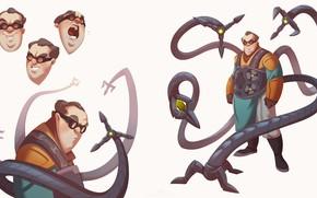 Picture Minimalism, glasses, tentacles, Costume, Marvel, Spider-man, glasses, Comics, Suit, scientist, Spider-Man, Doctor Octopus, Minimalism, Marvel, …