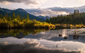 Picture autumn, forest, clouds, mountains, reflection, shore, ate, pond