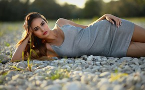 Picture girl, pose, pebbles, makeup, dress, brown hair, pebbles, Marco Maria Marcolini