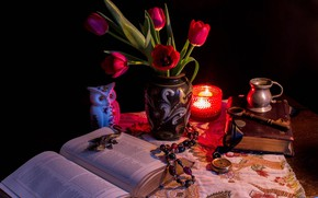 Picture Key, Watch, Tulips, Candle, Book, Vase, Still life
