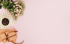 Picture background, pink, roses, bouquet, gifts, dessert, decor