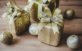 Picture decoration, balls, New Year, Christmas, gifts, golden, Christmas, balls, wood, New Year, gift, decoration, Merry