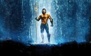 Picture waterfall, Trident, Aquaman, Jason Momoa, Jason Momoa, Aquaman
