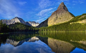 Picture greens, forest, the sky, water, the sun, clouds, trees, mountains, lake, reflection, rocks, boat, Montana, …