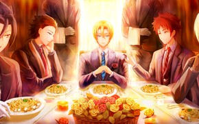 Picture table, roses, guys, serving, In the search for the divine recipe, Shokugeki No Soma