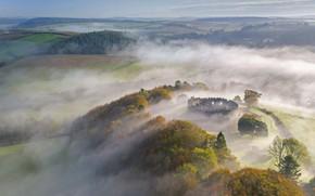 Picture fog, England, hill, Cornwall, замок Рестормель