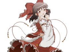 Picture white background, priestess, Hakurei Reimu, Touhou Project, sideways, Project East, by Os-hiro