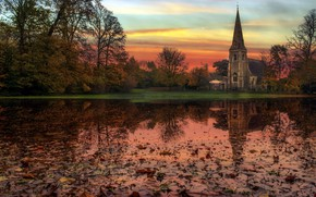Picture autumn, reflection, church