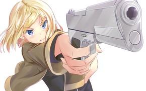 Picture girl, gun, blonde