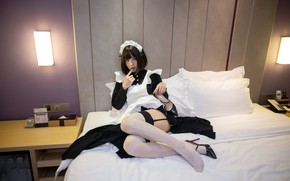 Picture Girl, Bed, Woman, Heels, Dress, Japanese, Megumi, Maid