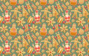 Picture holiday, New Year, Christmas, snowman, Santa Claus, Santa Claus, snowflake