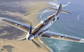 Picture Messerschmitt, Luftwaffe, single-engine piston fighter-low, Gustav, Bf.109 G-2