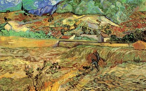 Picture Vincent van Gogh, Field with Peasant, the man in the garden, Enclosed Wheat