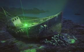 Picture ship, skeletons, photoart, green light
