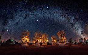 Picture radio telescopes, night, the milky way, the sky, stars
