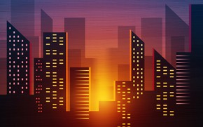 Picture Sunset, Minimalism, The city, Style, Background, Architecture, Art, Art, 80s, Style, Background, Illustration, Minimalism, 80's, …
