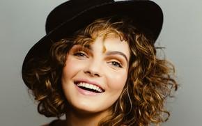 Picture look, girl, face, smile, hair, hat, Camren Bicondova