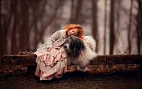 Picture mood, dog, friendship, girl, red, friends, redhead